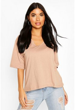 Stone Petite Oversized V-Neck T-Shirt