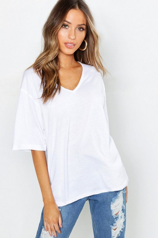 Womens White Petite Oversized V-Neck T-Shirt
