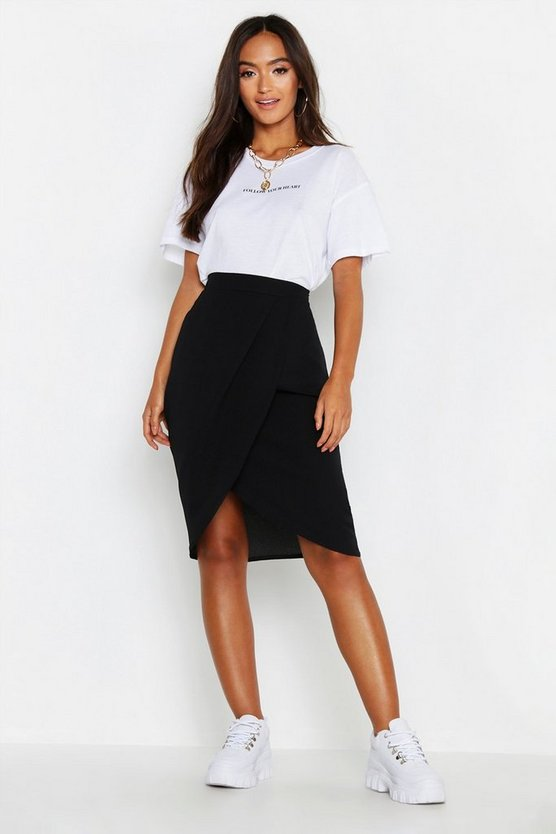 Womens Black Petite Woven Wrap Front Midi Skirt