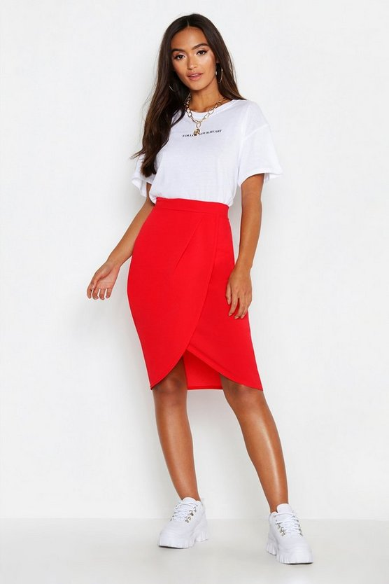 Womens Red Petite Woven Wrap Front Midi Skirt