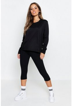 Womens Black Petite Basic Cotton Long Sleeve T-Shirt