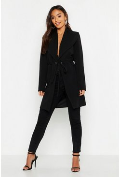 Womens Black Petite Gathered Waist Oversized Collar Duster