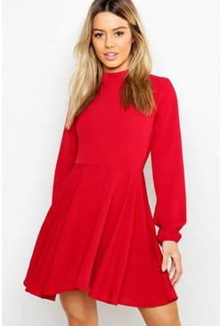 Womens Wine Petite High Neck Long Sleeve Skater Dress
