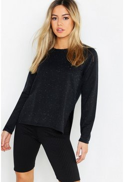 Womens Black Petite Fleck Split Hem Sweat Top