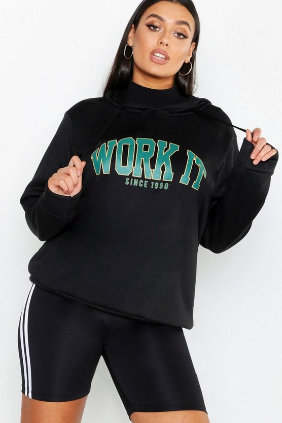 Womens Black Work It Slogan Brushed Hoody