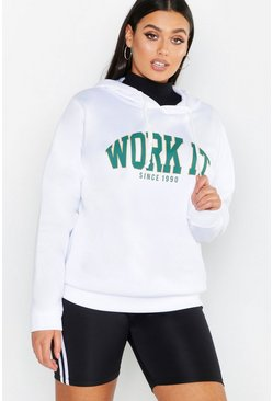 Womens White Work It Slogan Brushed Hoody