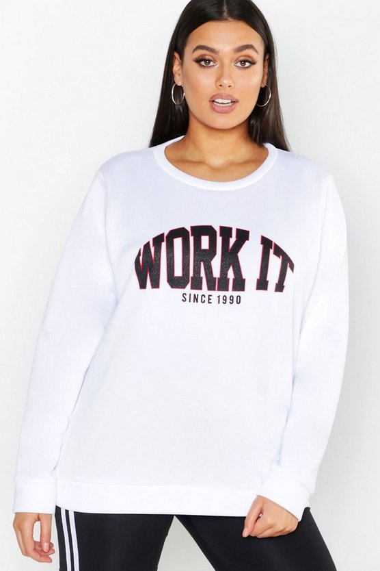 Work It Slogan Brushed Sweat