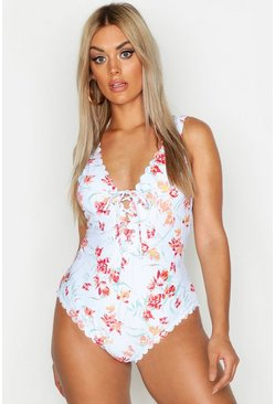 Womens Green Plus Pastel Floral Scallop Lace Up Swimsuit
