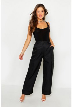 Womens Black Petite Wide Leg Turn Up Cargo Trousers