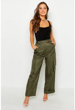 Womens Khaki Petite Wide Leg Turn Up Cargo Trousers