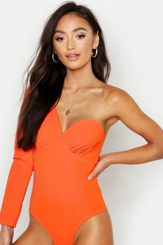Womens Orange Petite Asymmetric Sleeve Bodysuit