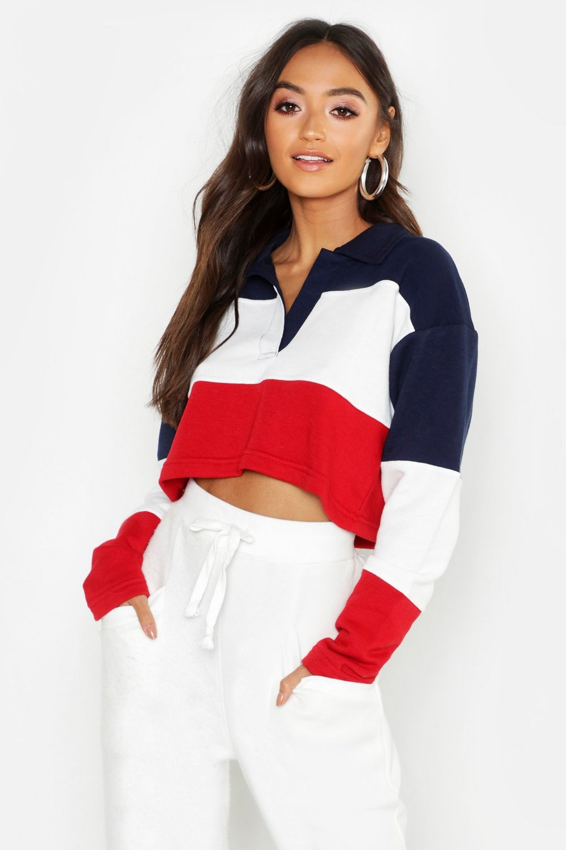 Petite Colour Block Rugby Crop Sweat Top by Boohoo