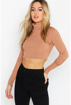 Womens Camel Petite Rib Balloon Sleeve Turtle Neck Top