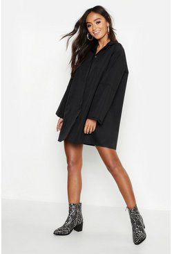 Womens Black Petite Oversized Cuff Shirt Dress