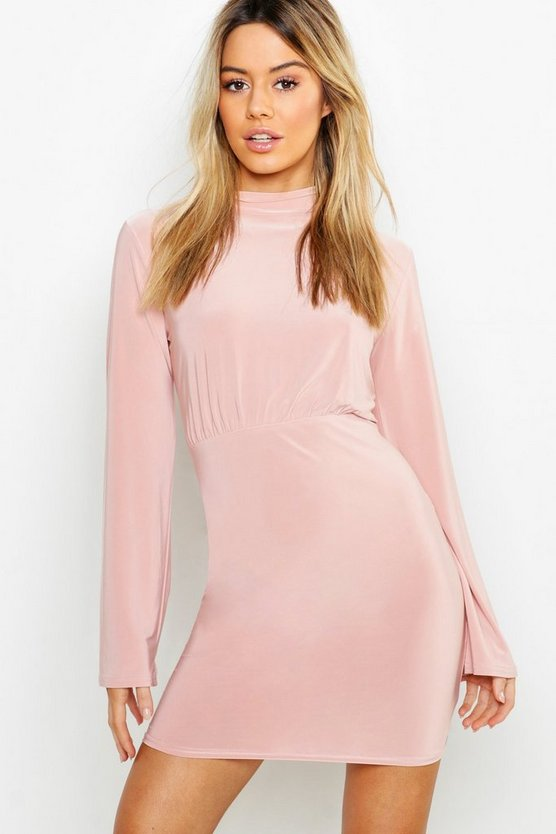 Petite High Neck Slinky Dress