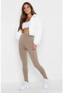 Mocha Petite High Waisted Basic Jersey Leggings
