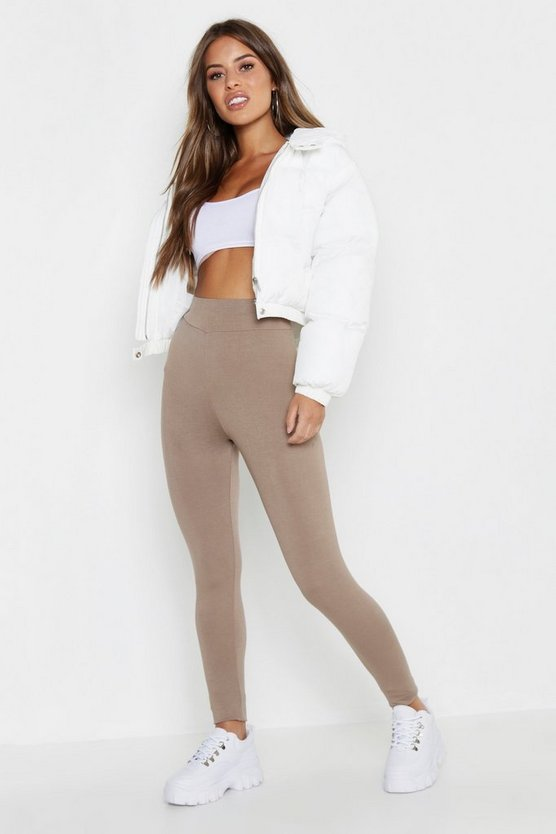 Womens Mocha Petite High Waisted Basic Jersey Leggings