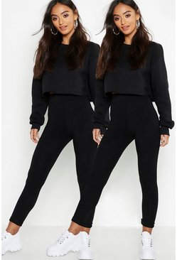 Womens Black Petite Two Pack High Waist Legging