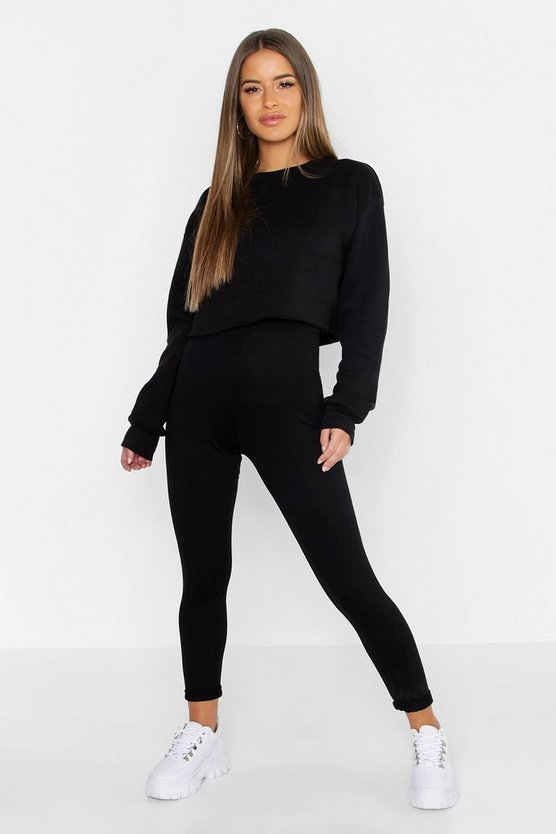 Womens Black Petite Basic Jersey Legging