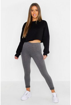 Womens Charcoal Petite Basic Jersey Legging