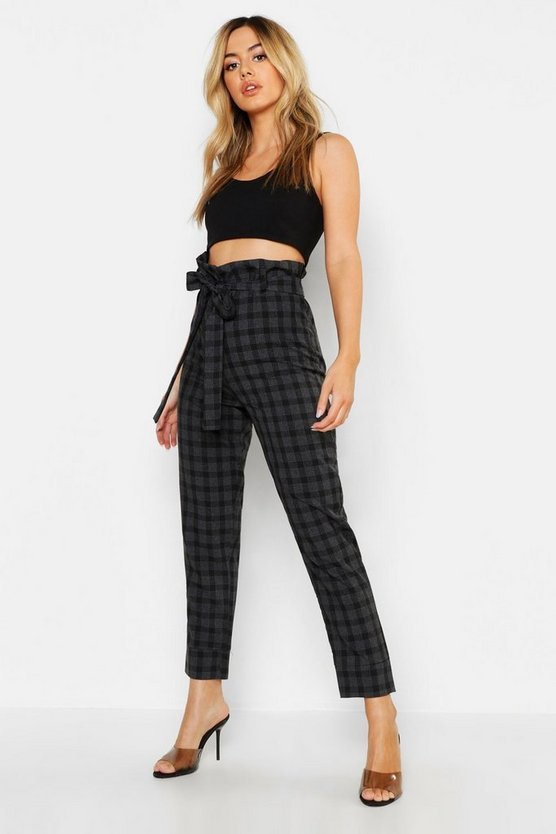 Womens Black Petite Paper Bag Waist Check Tapered Pants