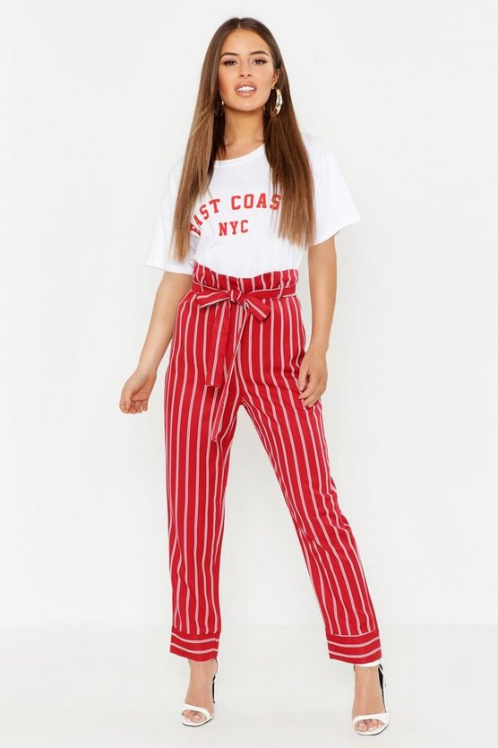 Womens Berry Petite Paper Bag Waist Stripe Tapered Pants