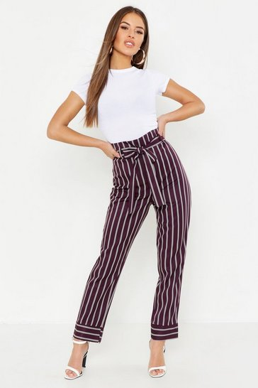 Womens Plum Petite Paper Bag Waist Stripe Tapered Trouser