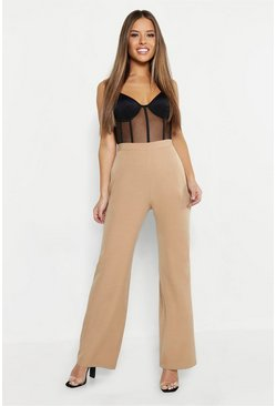 Womens Camel Petite High Waisted Wide Leg Pants