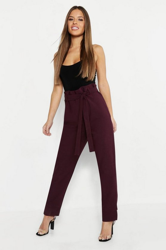 Womens Berry Petite Paper Bag Waist Tapered Trouser