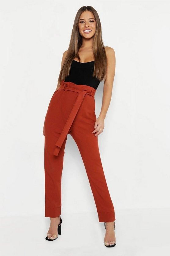 Womens Rust Petite Paper Bag Waist Tapered Trouser