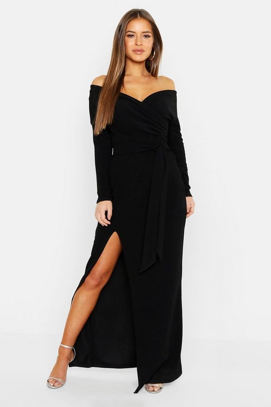 Womens Black Petite Off The Shoulder Split Maxi Dress
