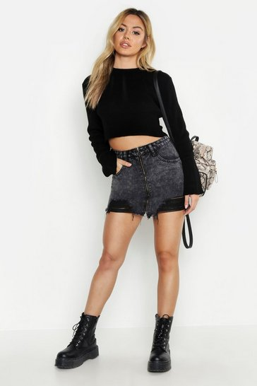 Womens Black Petite Zip Front Distressed Denim Mini Skirt