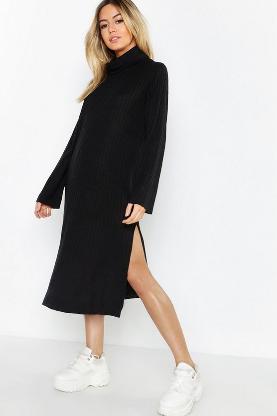 Womens Black Petite Rib Knitted Midi Sweater Dress