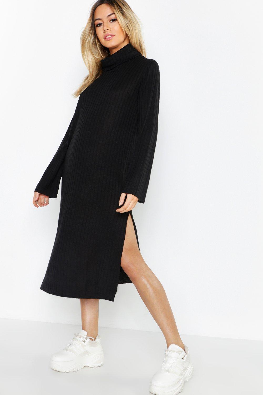 sold worldwide select for best meet Petite Rib Knitted Midi Jumper Dress | Boohoo
