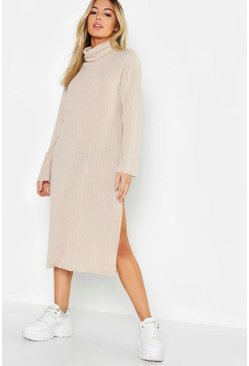 Womens Stone Petite Rib Knitted Midi Jumper Dress