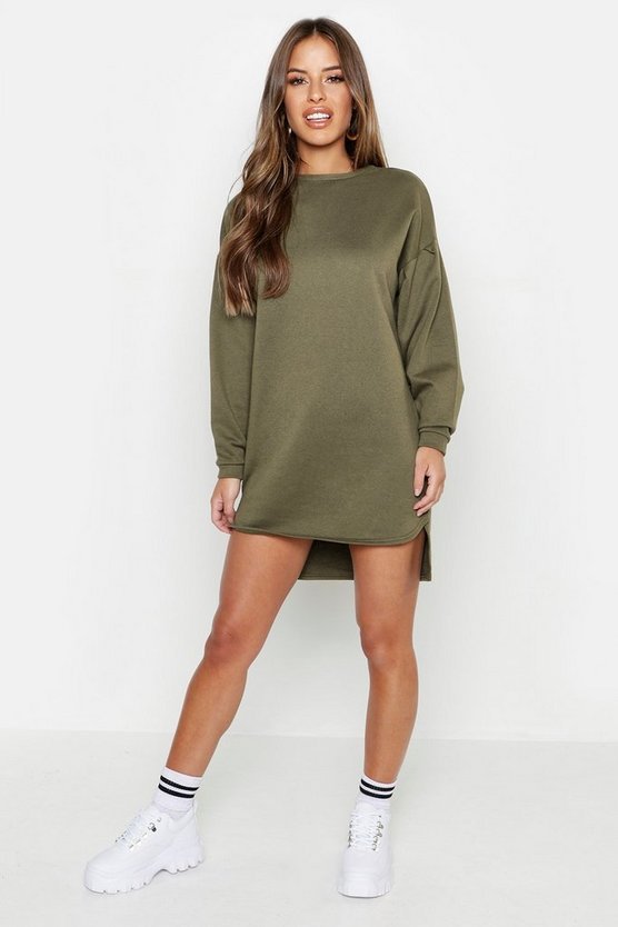 Womens Khaki Petite Balloon Sleeve Sweat Dress