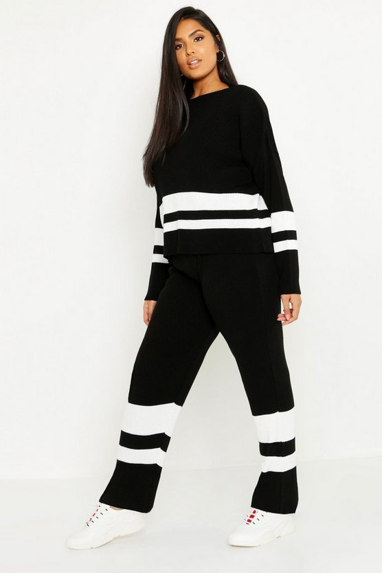 Plus Stripe Knitted Lounge Set