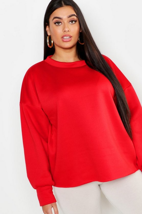 Plus Raw Edge Sweat Top by Boohoo