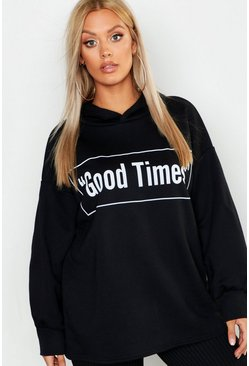 Sweat à capuche oversize Good Times Plus, Noir, Femme