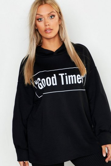 Womens Black Plus Good Times Oversized Hoody