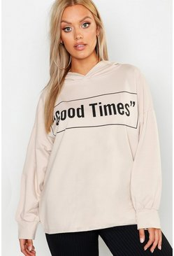Womens Stone Plus Good Times Oversized Hoody