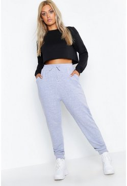 Womens Grey marl Plus Basic Oversized Jogger