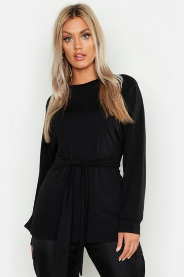 Womens Black Plus Tie Waist Sweatshirt
