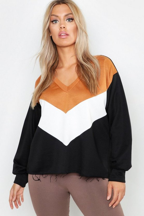 Plus Colour Block V Neck Sweat Top