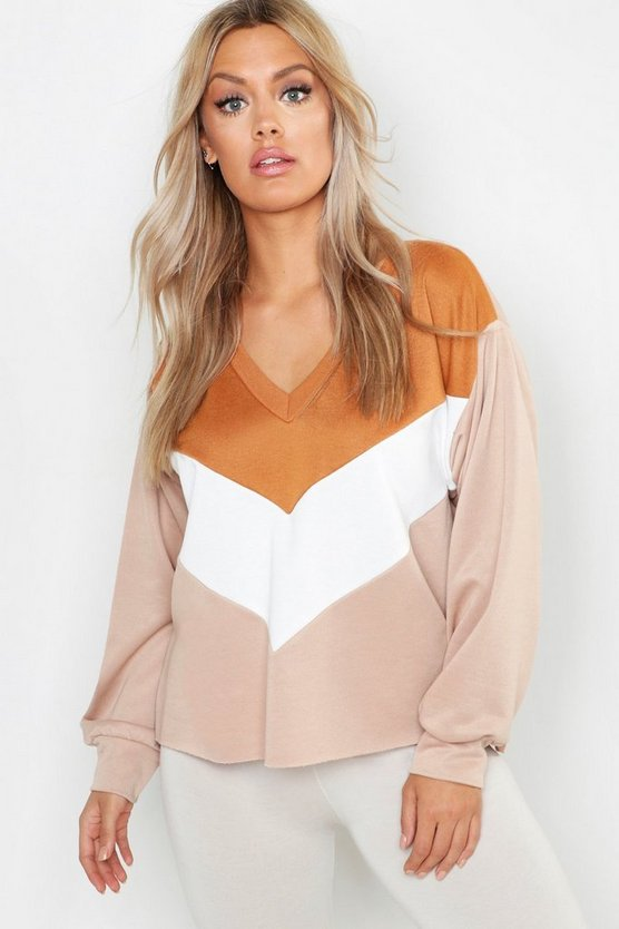 Womens Stone Plus Colour Block V Neck Sweat Top