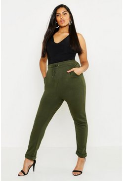 Womens Khaki Plus Turn Up Jogger