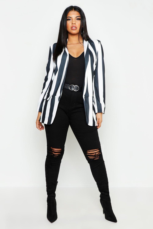 Plus Wide Stripe Blazer