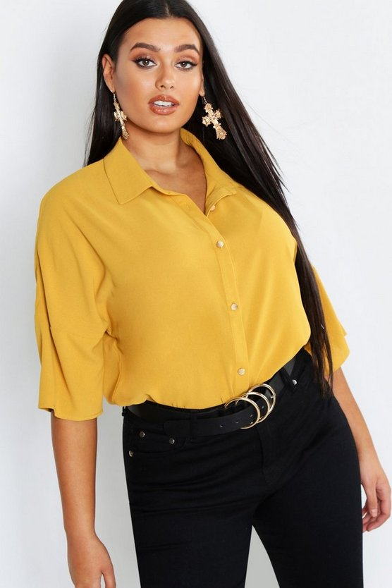 Plus 3/4 Sleeve Button Front Shirt