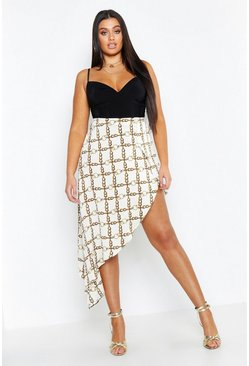Womens Ivory Plus Chain Print Satin Asymmetric Skirt