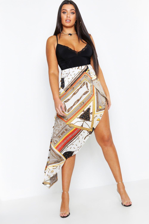 Plus Satin Chain Print Asymmetric Skirt
